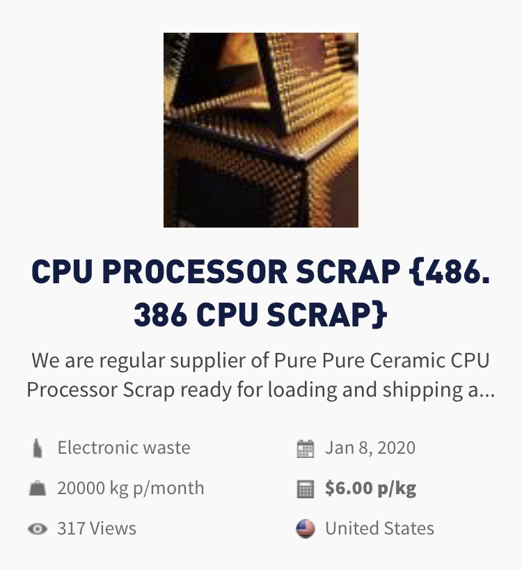 E-waste | CPU Processor scrap for sale