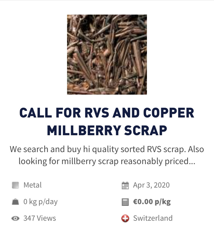 Metal | Request RVS AND COPPER MILLBERRY SCRAP
